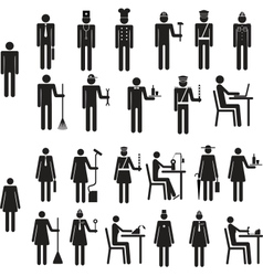 Set of icons figure people job occupation vector