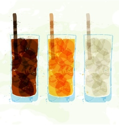 Set of multi-colored glass cup stains vector image