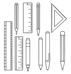 Set of pen pencil and ruler vector