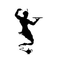 Silhouette helpful genie from arabic lamp vector