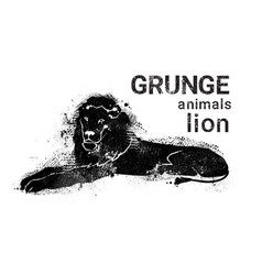 Silhouette lion in grunge design style animal icon vector