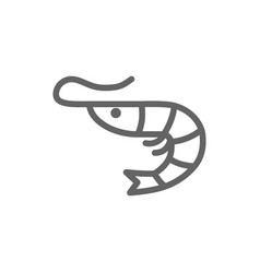 Simple shrimp line icon symbol and sign vector