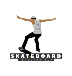 skateboarder on white background vector image