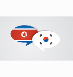 south and north korea flags on glossy speech vector image