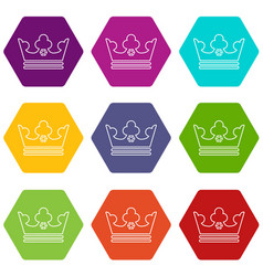 steel crown icons set 9 vector image