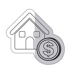 Sticker monochrome contour house with icon coin vector
