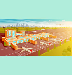 Top view airport and runway flat vector
