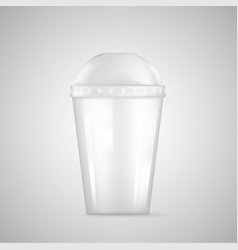 transparent plastic empty disposable cup for soda vector image