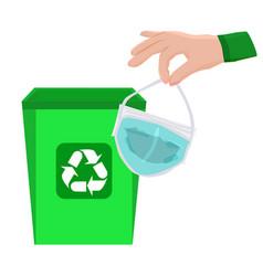 trash bin hand and away used medical mask vector image