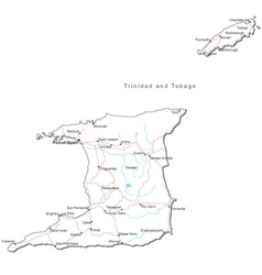 Trinidad and Tobago Black White Map vector image