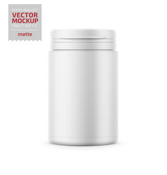 White plastic tablet bottle template vector