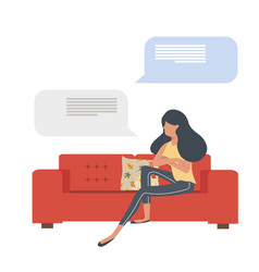 woman sitting on red sofa with message vector image
