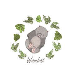 Wombat surrounded plants isolated on white vector