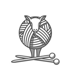 Wool emblem with sheep tangle of yarn and vector