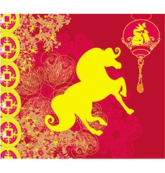 Year of Horse - Happy Chinese New Year Card Design vector image