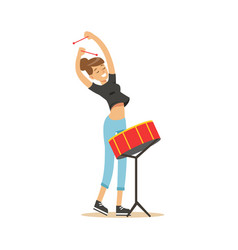 young beautiful girl playing drum vector image