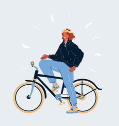 Young girl riding bike on white vector
