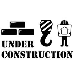 black under construction symbol vector image vector image