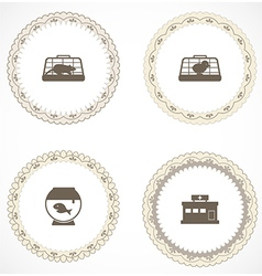 Vintage labels with icons vector image vector image