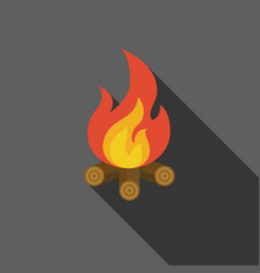 Bonfire on fire wood icon vector