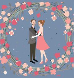 couple wedding bride grom character vector image