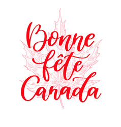 happy canada day card in french bonne fete vector image
