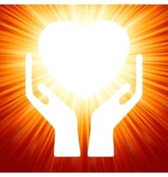 heart in open hands vector image