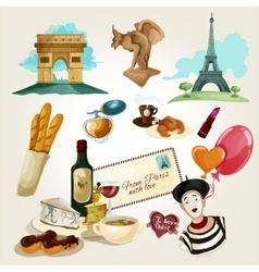Paris Touristic Set vector image