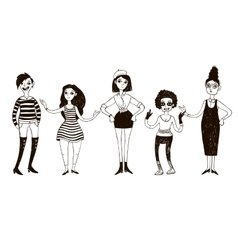 Set of doodle women in retro style vector image