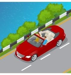 Cabriolet car isometric flat vector