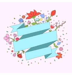Color flowers ribbon frame for text placeholder vector image vector image