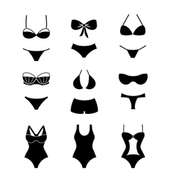 Female swimsuits and swimwears icons vector image