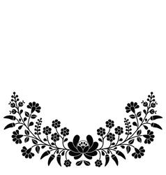Hungarian black floral folk pattern - Kalocsai emb vector image