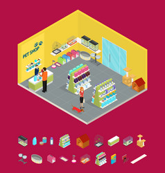 interior pet shop and elements part isometric view vector image vector image