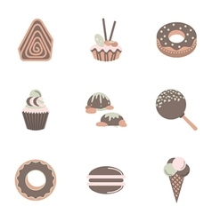 Sweets flat color icons set vector image