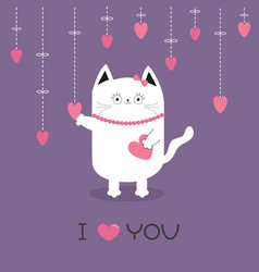 white cat hanging pink hearts dash line heart vector image vector image