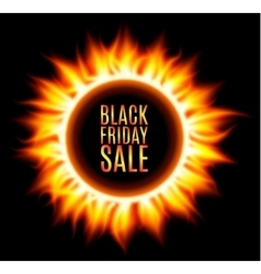 Abstract burning fire circle black friday sale vector