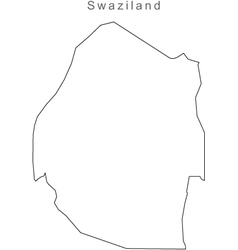 Black White Swazliland Outline Map vector image vector image