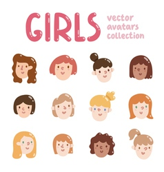 Girls colorful avatars collection vector image vector image