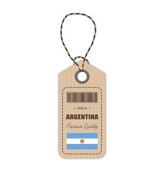 hang tag made in argentina with flag icon isolated vector image vector image