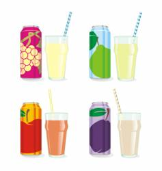 isolated juice cans and glasses vector image vector image