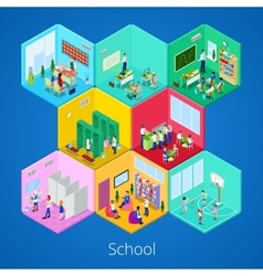 Isometric School Interior with Lecture Hall vector image vector image