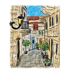 mediterranean town painting vector image vector image