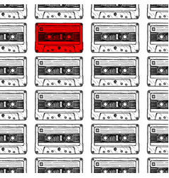 pattern with audio cassette vector image