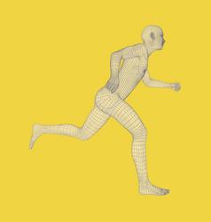 3d running man human body wire model sport symbol vector image