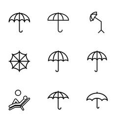 9 umbrella icons vector image