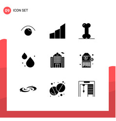 9 universal solid glyph signs symbols building vector