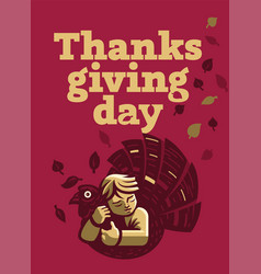 a child is hugging a turkey for thanksgiving vector image