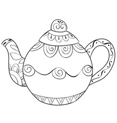 adult coloring bookpage a cute tea-pot image for vector image