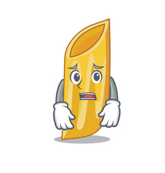 Afraid penne pasta character cartoon vector